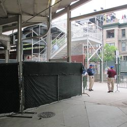 6:42 p.m. Access point between the grandstands and the bleachers, in the right-field corner -