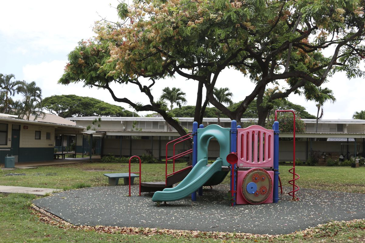 A playground sits at Aikahi Elementary School in Kailua, Hawaii on Tuesday, July 28, 2020.