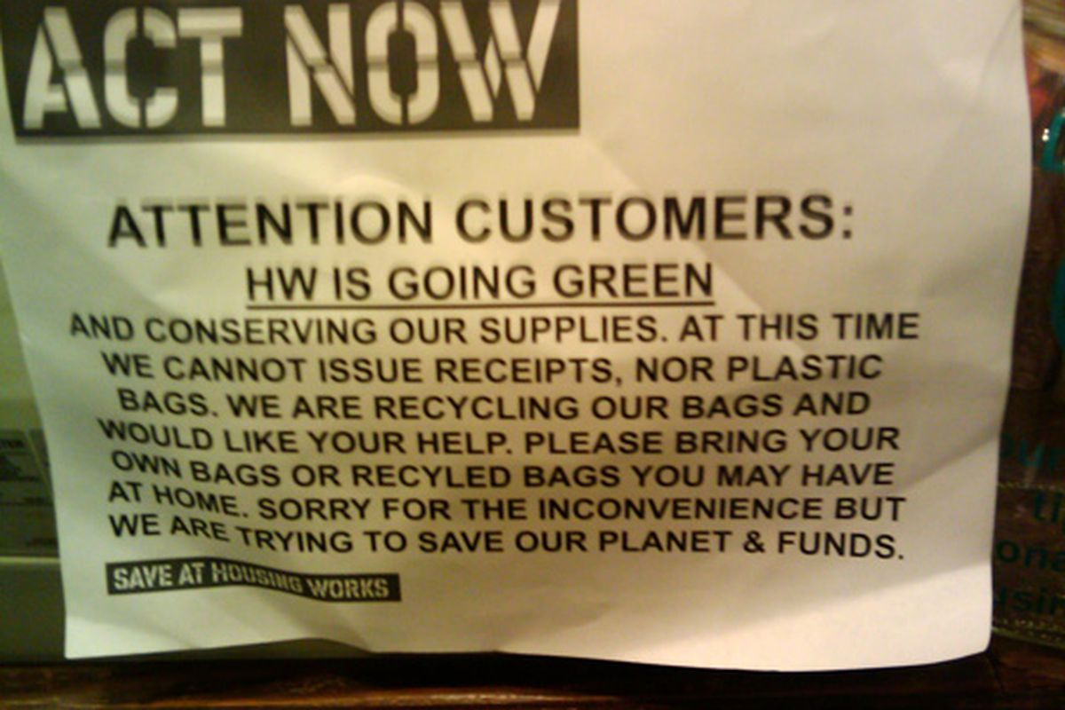 A sign in the Gramercy Housing Works on 23rd Street