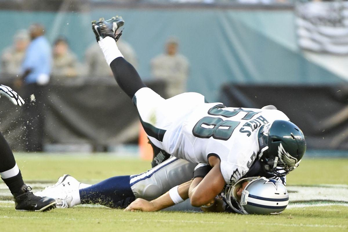 The play where former Longhorns Jordan Hicks (58) sacked Dallas Cowboys quarterback Tony Romo (9) during the third quarter at Lincoln Financial Field. Mandatory Credit: Eric Hartline-USA TODAY Sports.
