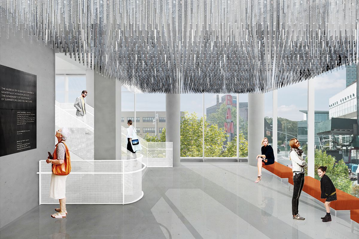 A rendering of a lobby area with floor-to-ceiling windows, orange seats, and silver decorations hanging from the ceiling.