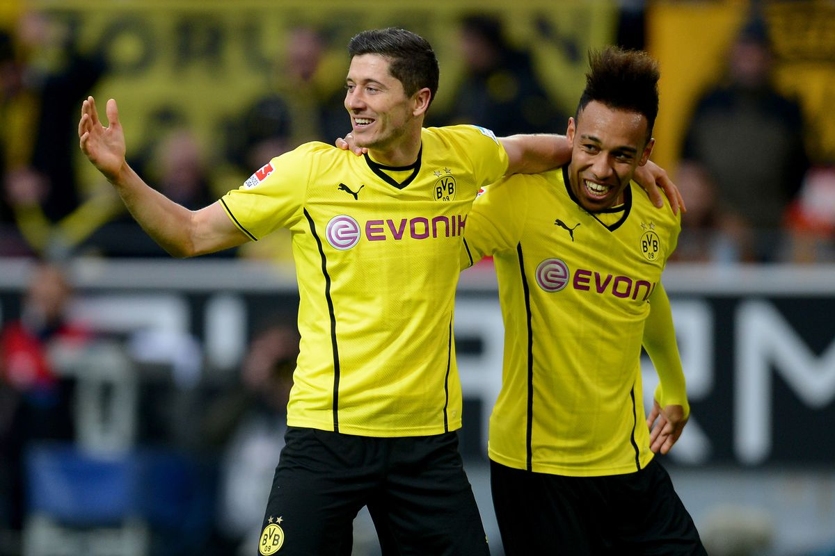 Pierre-Emerick Aybameyang With The Man He Could Be Replacing In Dortmund's Line-up