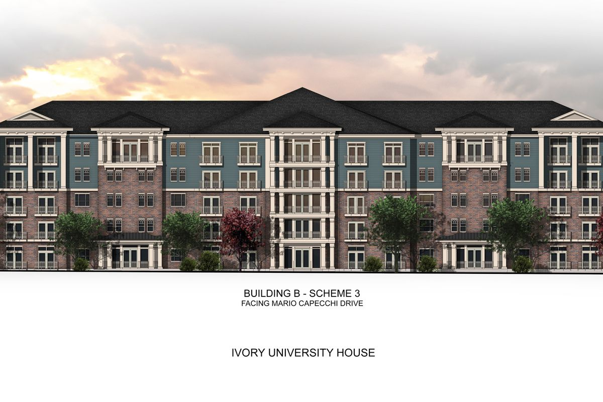 The proposed Ivory University House near the University of Utah is pictured in an artist's rendering. Rent paid to the development would be donated into a new scholarship fund for U. students.The project would house 536 much-needed units of housing.