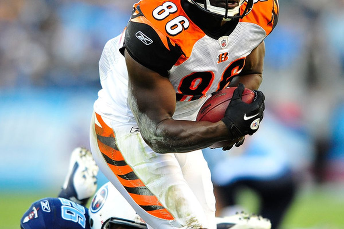 NASHVILLE, TN - NOVEMBER 06:  Donald Lee #86 of the Cincinnati Bengals makes a catch against Jordan Babineaux #26 of the Tennessee Titans during play at LP Field on November 6, 2011 in Nashville, Tennessee.  (Photo by Grant Halverson/Getty Images)