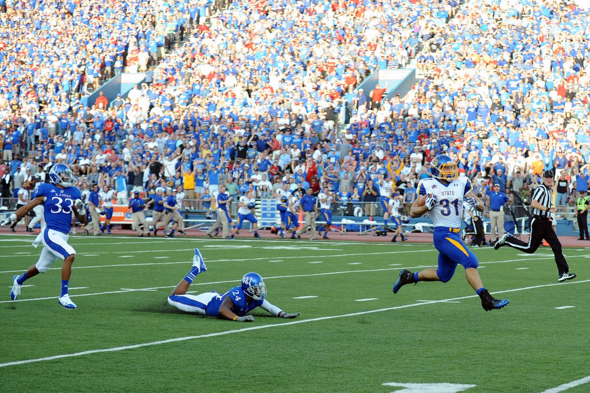 This is Zach Zenner. He is clowning the Jayhawks. Isn't that awesome?