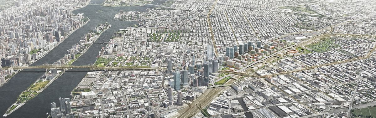 An aerial view of the Sunnyside Yard master plan.