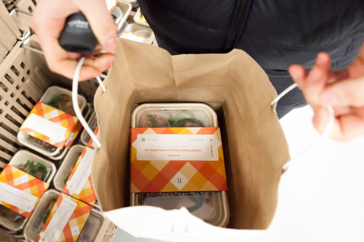 A packaged Munchery meal