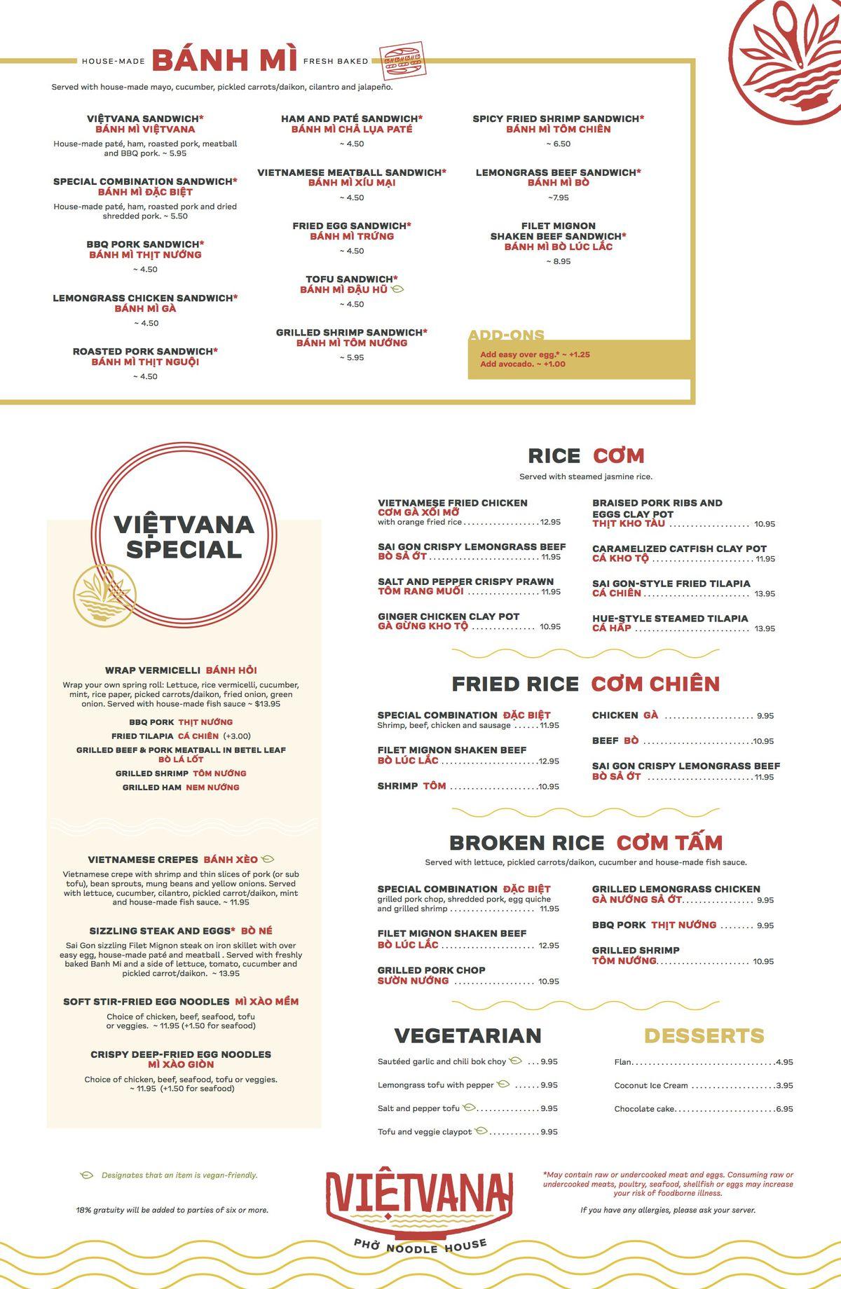 Banh mi, specials, com, com chien, com tam, dessert menu