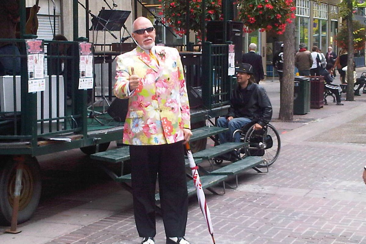 """Don Cherry <a href=""""http://www.clarkrobertson.com/doncherry.htm"""">impersonator Clark Robertson</a></a> took to the streets of Calgary Thursday and you can book him for your events!"""