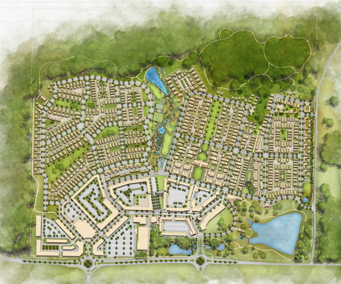 A rendering of a huge development with a subdivision and trees beyond.