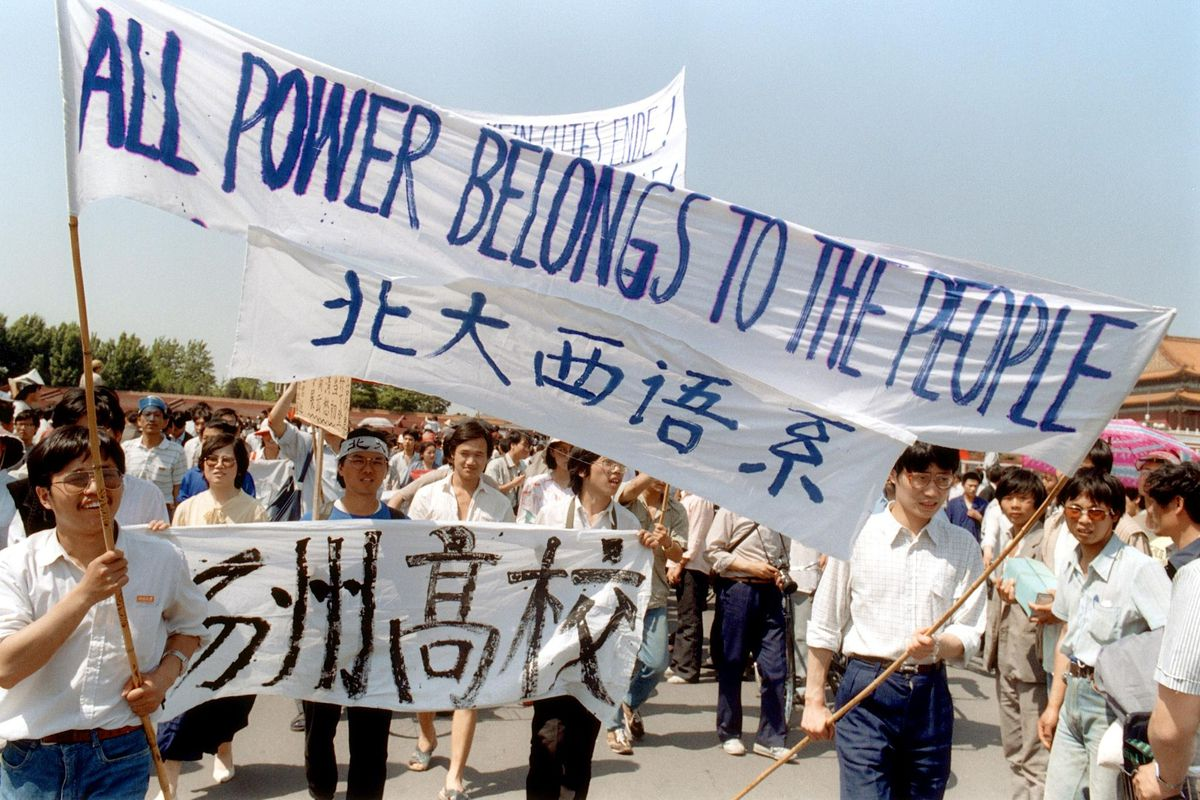 Chinese protesters rally in Beijing's Tiananmen Square in late May 1989