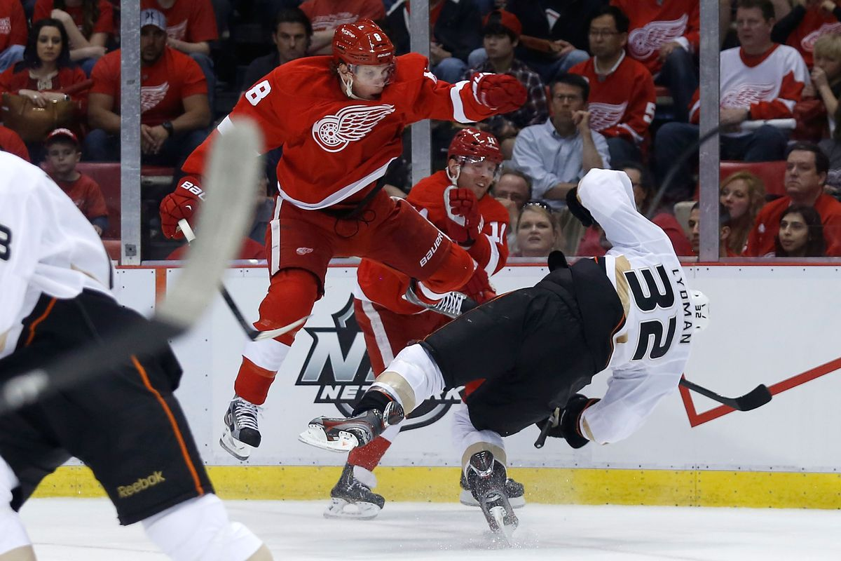 Justin Abdelkader after charging in to take a leaping head shot on Toni Lydman. Photo credit