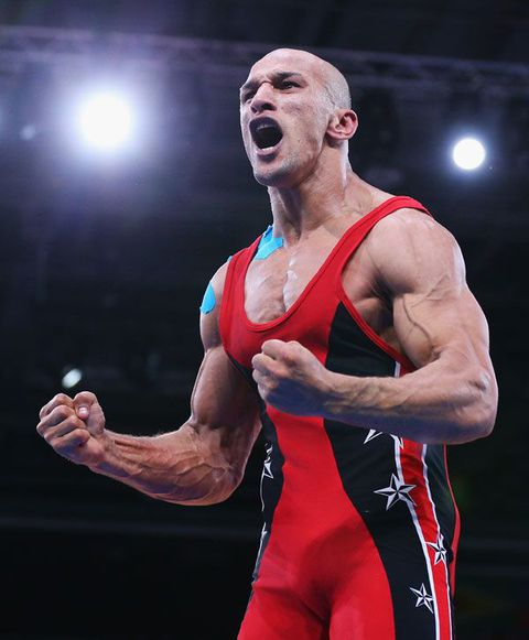 Erection wrestler gets stiffening and