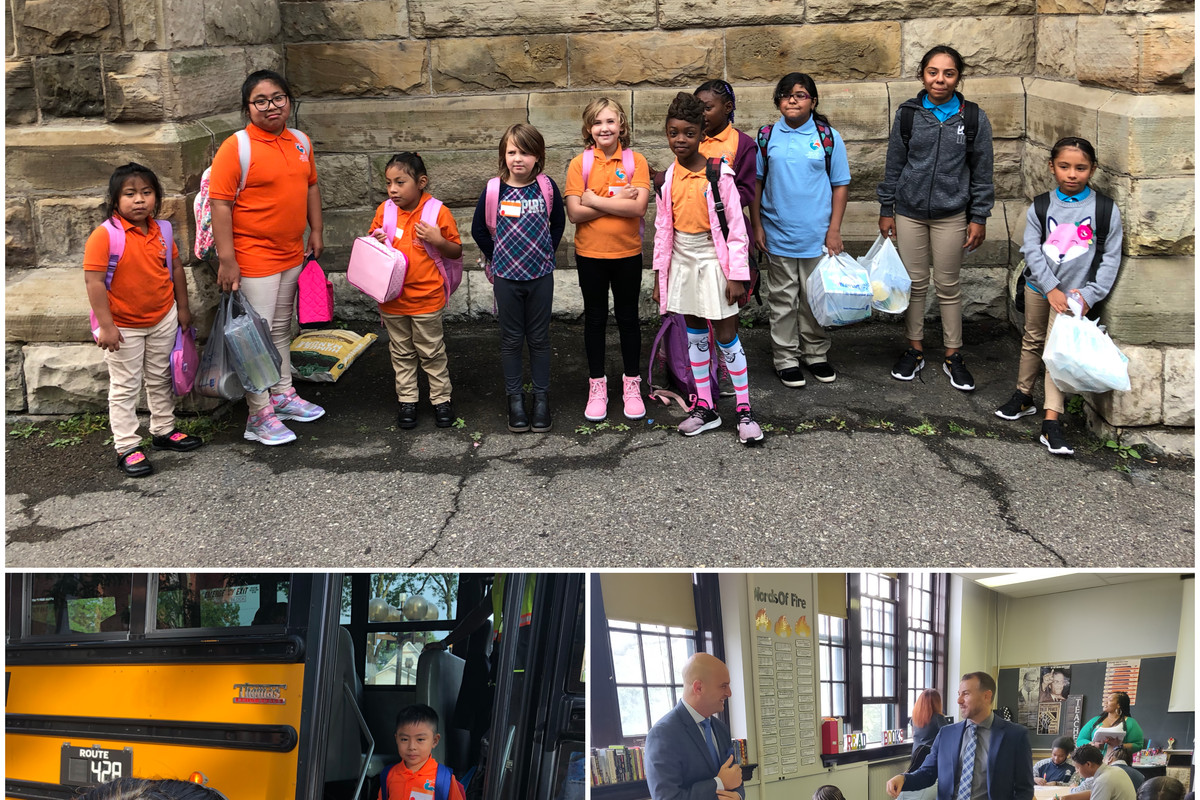 Scenes from the first day of school in Detroit at Escuela Avancemos, a charter school (top and left), and The School at Marygrove, an innovative new program in the Detroit district.