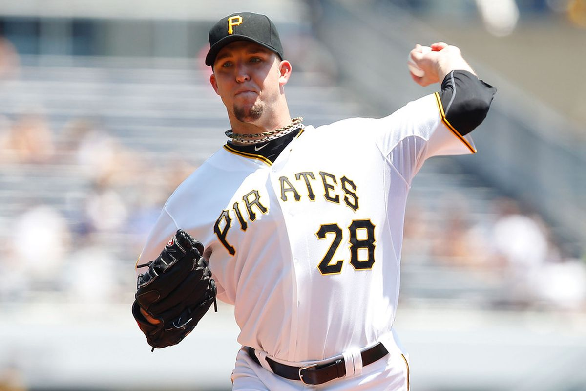 PITTSBURGH, PA - JULY 10:  Paul Maholm #28 of the Pittsburgh Pirates pitches against the Chicago Cubs during the game on July 10, 2011 at PNC Park in Pittsburgh, Pennsylvania.  (Photo by Jared Wickerham/Getty Images)