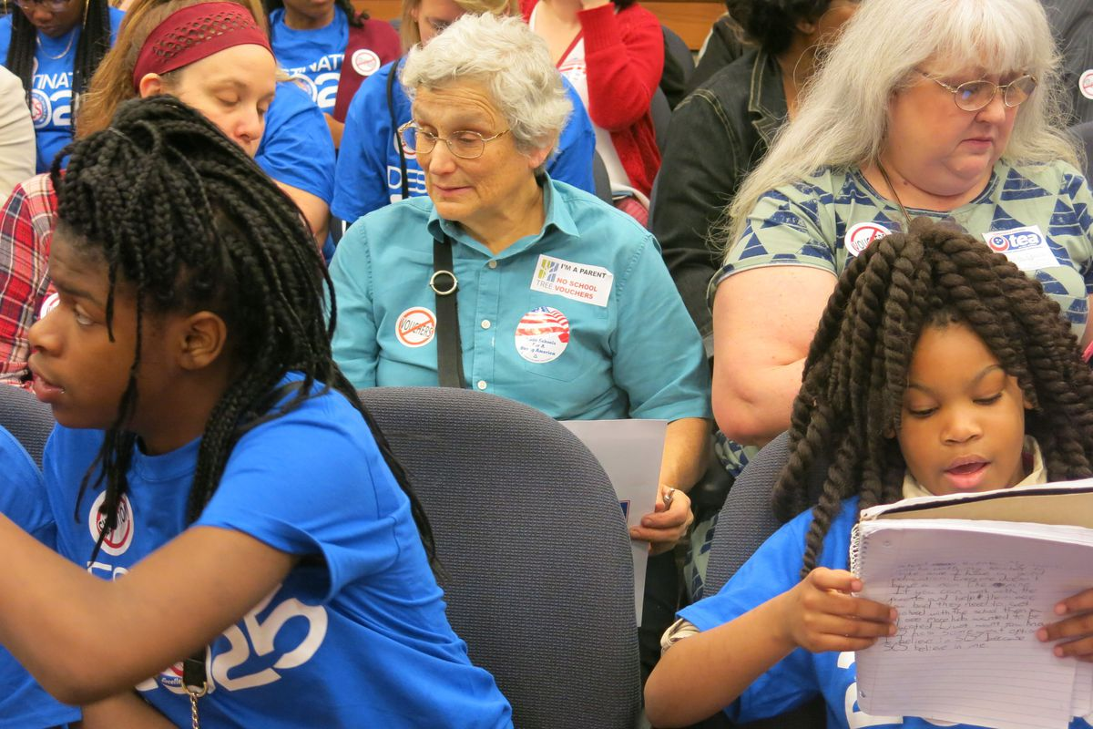 Students, parents and activists against vouchers fill a committee room at the Tennessee State Capitol.