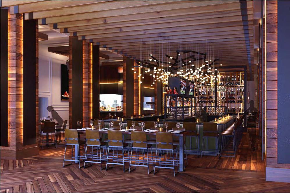 A rendering of South City Kitchen Alpharetta's bar area.