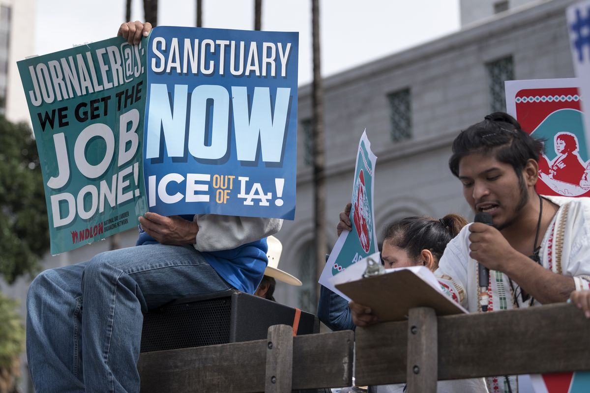 Protesters in Los Angeles call for the city to resist federal Immigration and Customs Enforcement (ICE), in February.
