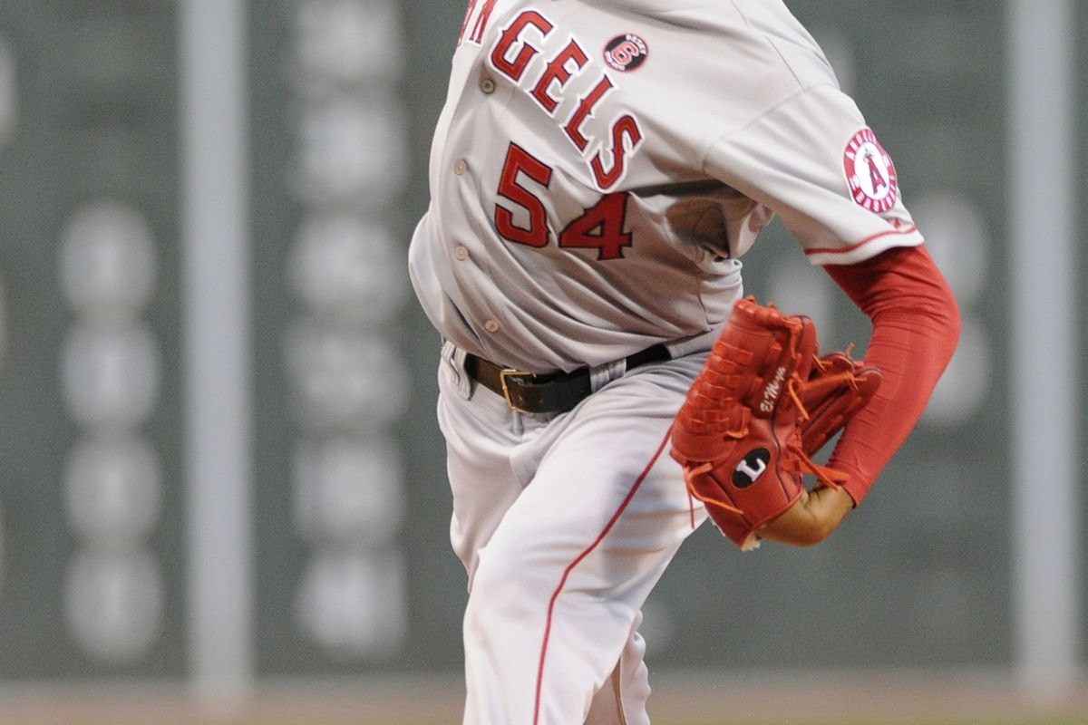 August 21, 2012; Boston, MA, USA; Los Angeles Angels starting pitcher Ervin Santana (54) pitches during the first inning against the Los Angeles Angels at Fenway Park. Mandatory Credit: Bob DeChiara-US PRESSWIRE