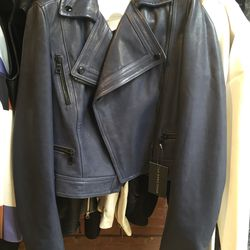 Proenza Schouler leather motorcycle jacket in navy, size 4, $765 (from $2,550)