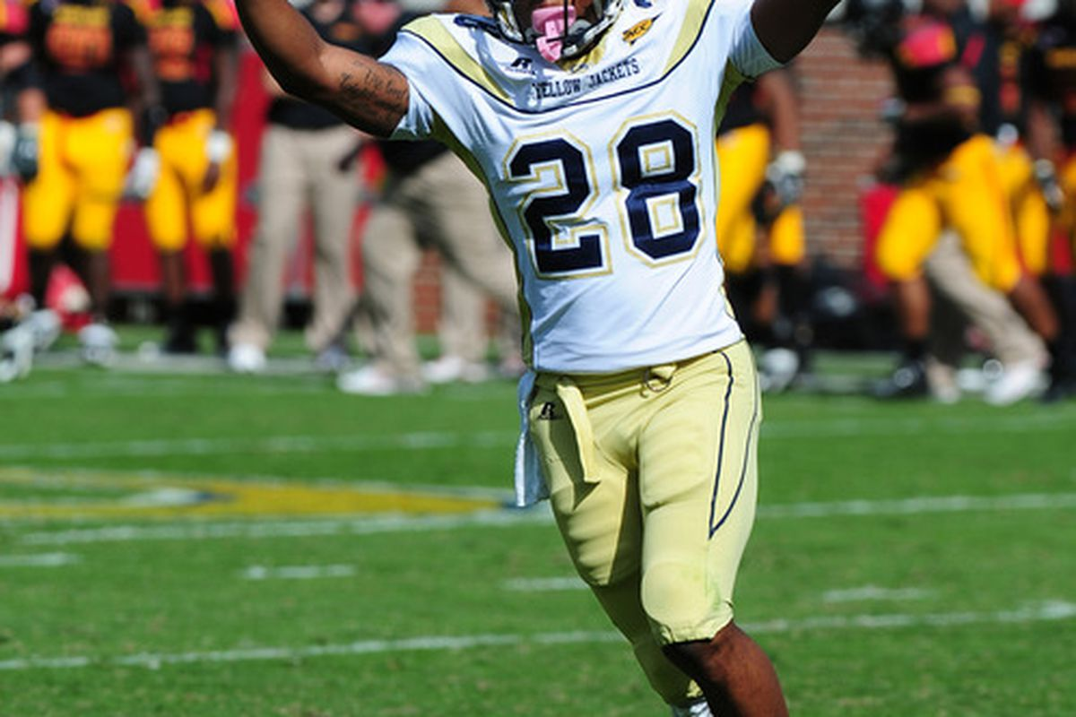 ATLANTA, GA - OCTOBER 8: Rashaad Reid #28 of the Georgia Tech Yellow Jackets celebrates after a play against the Maryland Terrapins at Bobby Dodd Stadium on October 8, 2011 in Atlanta, Georgia. Photo by Scott Cunningham/Getty Images)