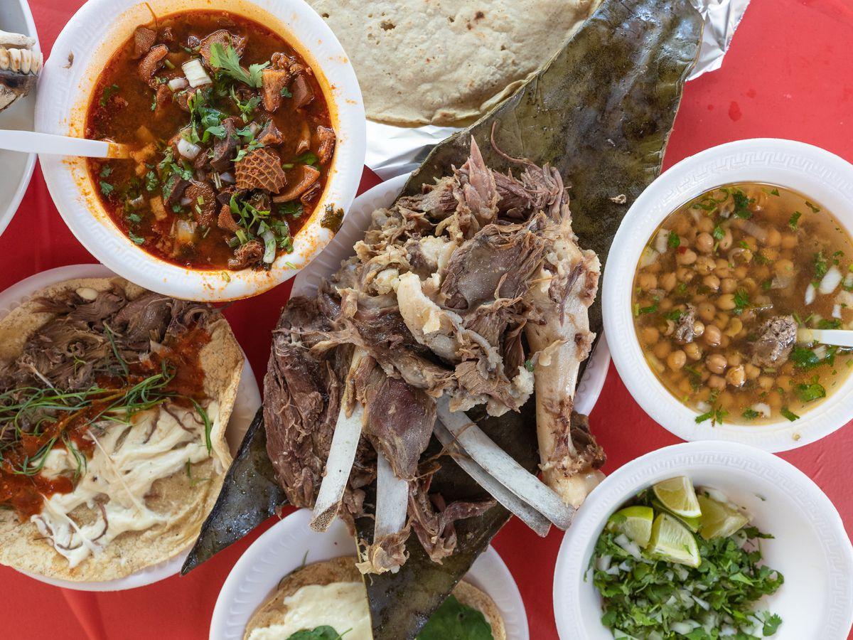 Lamb barbacoa, menudo, and quesadillas from Barba Kush