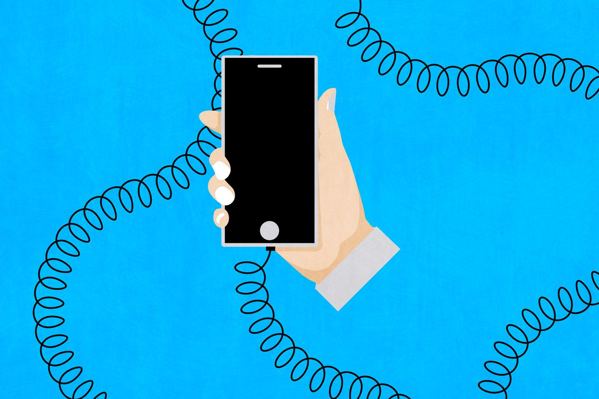 An illustration of a long, curly cord plugged into a smartphone