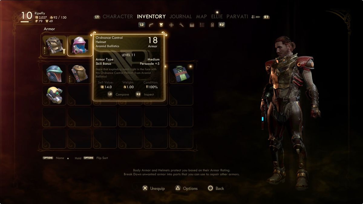 The Outer Worlds armor skill bonus