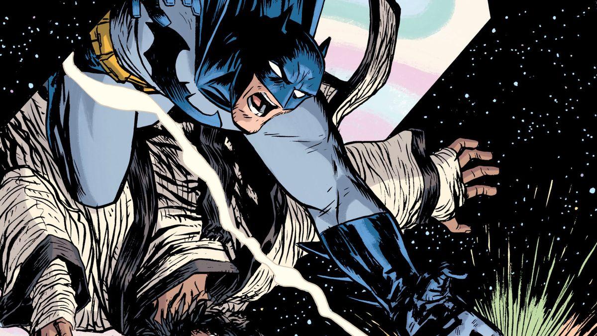 Batman and Vandal Savage leap through a portal after the White Lantern ring in Batman Odyssey #6, DC Comics (2019).