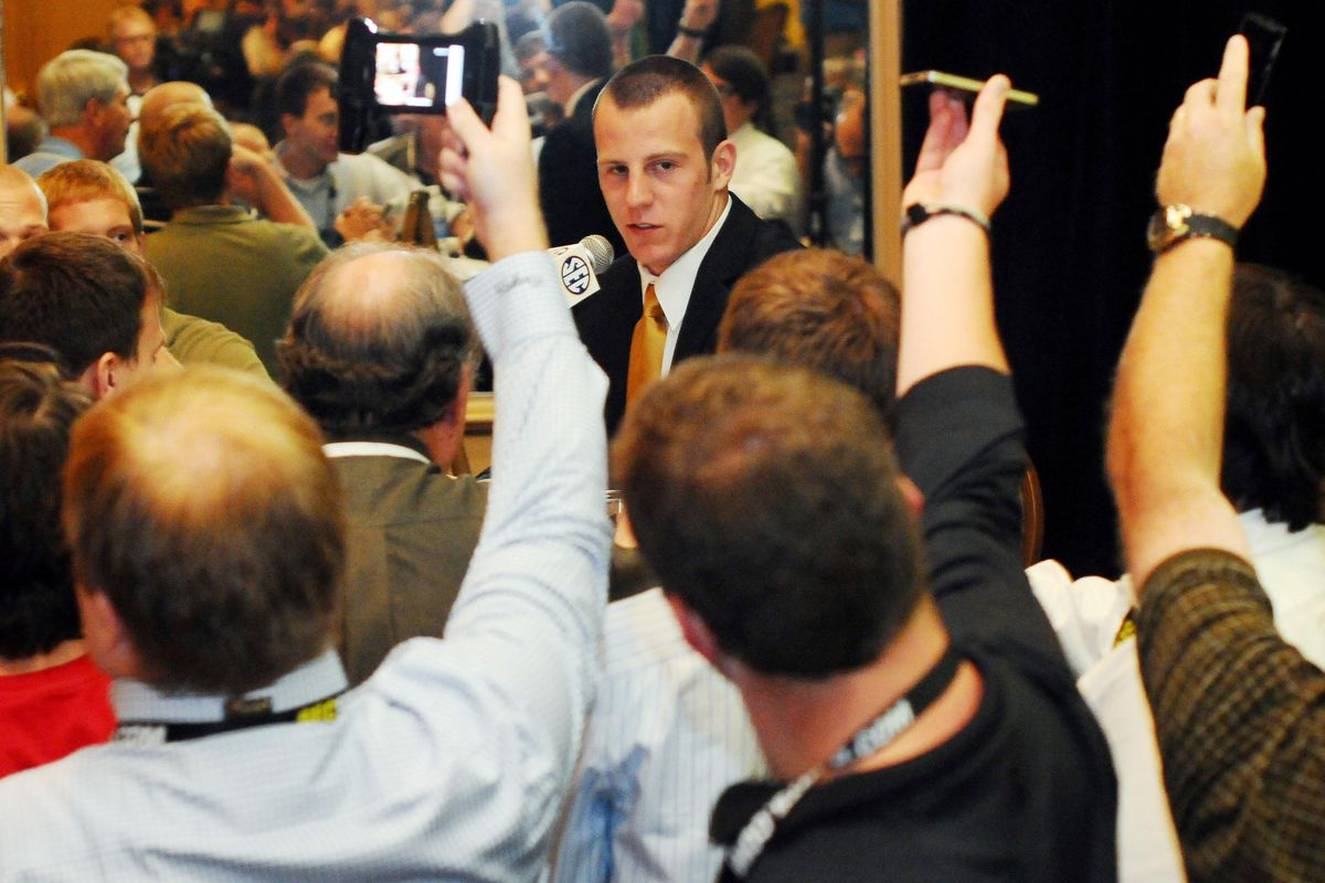 July 17, 2012; Hoover, AL, USA;  Missouri Tigers wide receiver T.J. Moe talks to reporters at the 2012 SEC media days press conference at the Wynfrey Hotel.   Mandatory Credit: Kelly Lambert-US PRESSWIRE