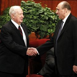 Richard  G. Scott says hello to President Thomas S. Monson as Monson arrives for the afternoon session of the 182nd Annual General Conference for The Church of Jesus Christ of Latter-day Saints at the LDS Conference Center in Salt Lake City on Saturday, March 31, 2012.