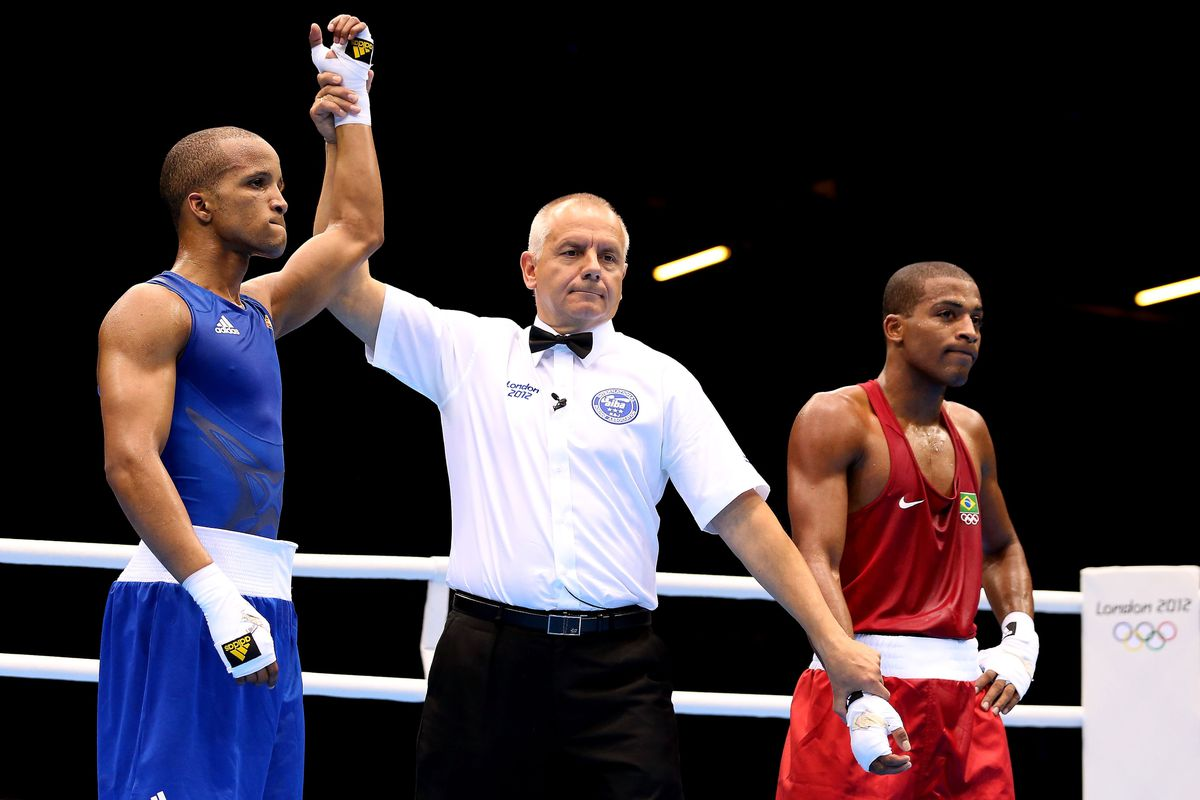 Cuba's Roniel Iglesias (seen here in his win over Brazil's Everton Lopes) won light welterweight gold in London, beating Ukraine's Denys Berinchyk in the final bout. (Photo by Scott Heavey/Getty Images)