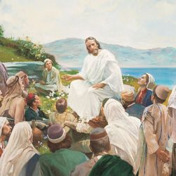 Sitting on a mountainside, Jesus gave what is known as the Sermon on the Mount. Included in this sermon were the Beatitudes, special blessings that Jesus promised for righteous living. He also asked His followers to be good examples and to love their enemies. Jesus taught them how to pray and encouraged them to repent of their sins and not judge others. He taught that those who obey His words have a strong foundation for their lives. Those who heard Jesus were astonished, for He taught with the power of God. Artist, Harry Anderson. Pictures of life of Christ for special issue. Monday, Dec.28, 2009, Photo copyright IRI