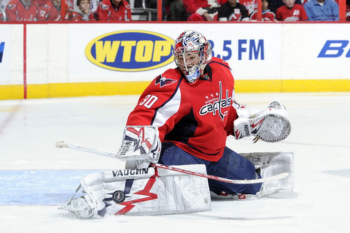 WASHINGTON DC - DECEMBER 23:  Michal Neuvirth #30 of the Washington Capitals makes a save against the Pittsburgh Penguins at the Verizon Center on December 23 2010 in Washington DC.  (Photo by Greg Fiume/Getty Images)