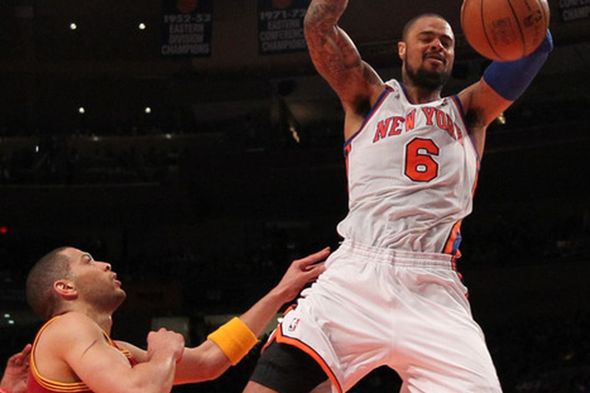 Mar 31, 2012; New York, NY, USA;  New York Knicks center Tyson Chandler (6) dunks during the third quarter against the Cleveland Cavaliers at Madison Square Garden.  Knicks won 91-75.  Mandatory Credit: Anthony Gruppuso-US PRESSWIRE