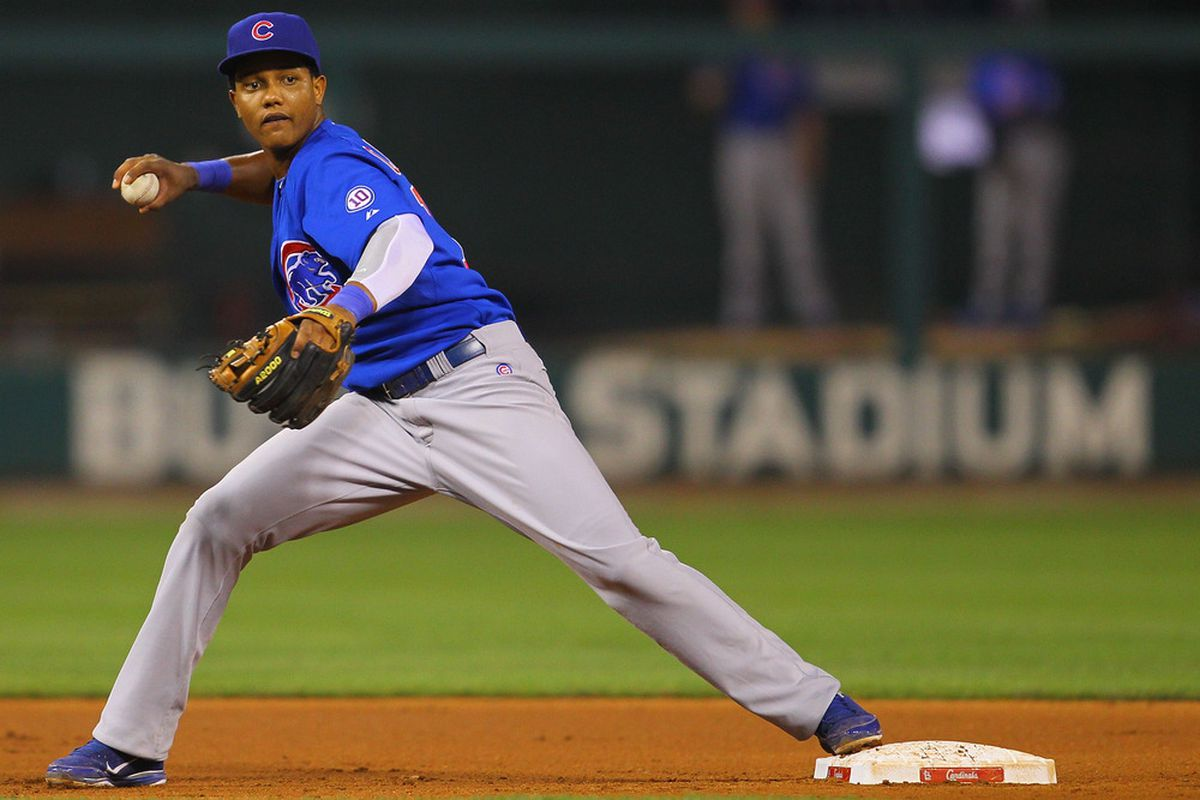 ST. LOUIS, MO - JUNE 3: Starlin Castro #13 of the Chicago Cubs looks to throw to first base against the St. Louis Cardinals at Busch Stadium on June 3, 2011 in St. Louis, Missouri.  (Photo by Dilip Vishwanat/Getty Images)