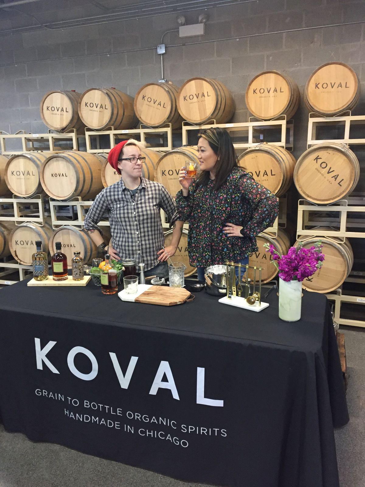 Ji Suk Yi at Koval Distillery with A. Tonks Lynch who teaches cocktail classes there.   Sun-Times Staff