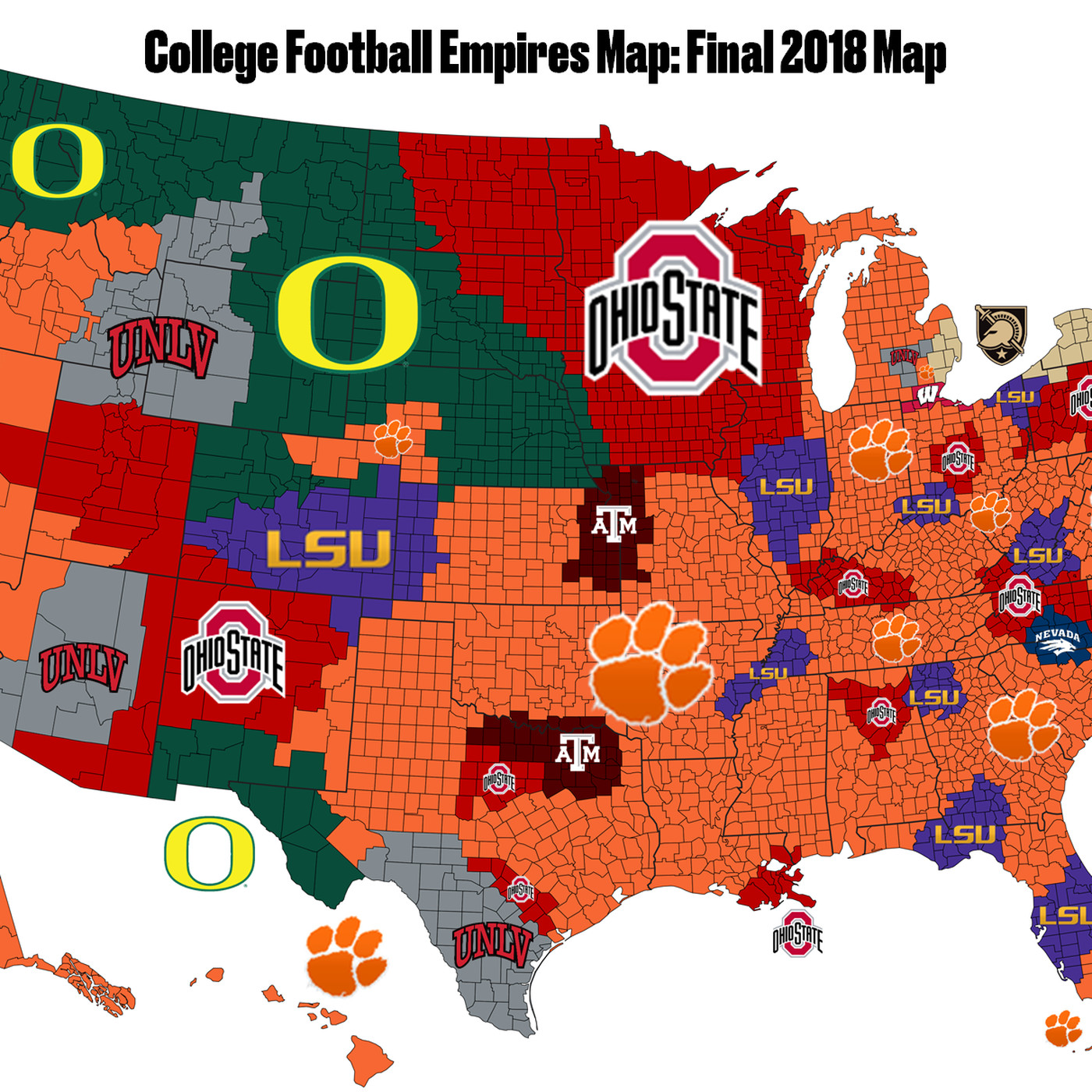 Final 2018 College Football Empires Map Bow To Clemson Sbnation Com