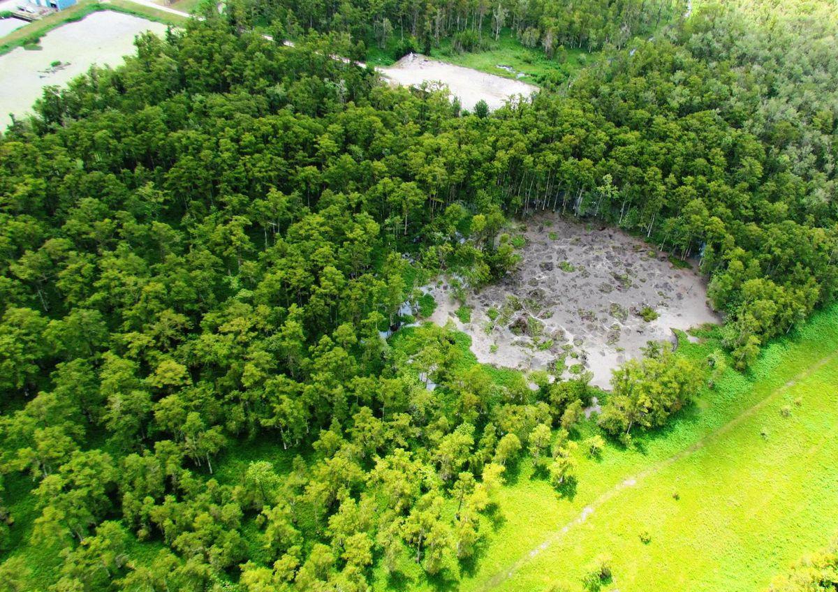 A sinkhole opens up near Bayou Corne, Louisiana, in July 2012.