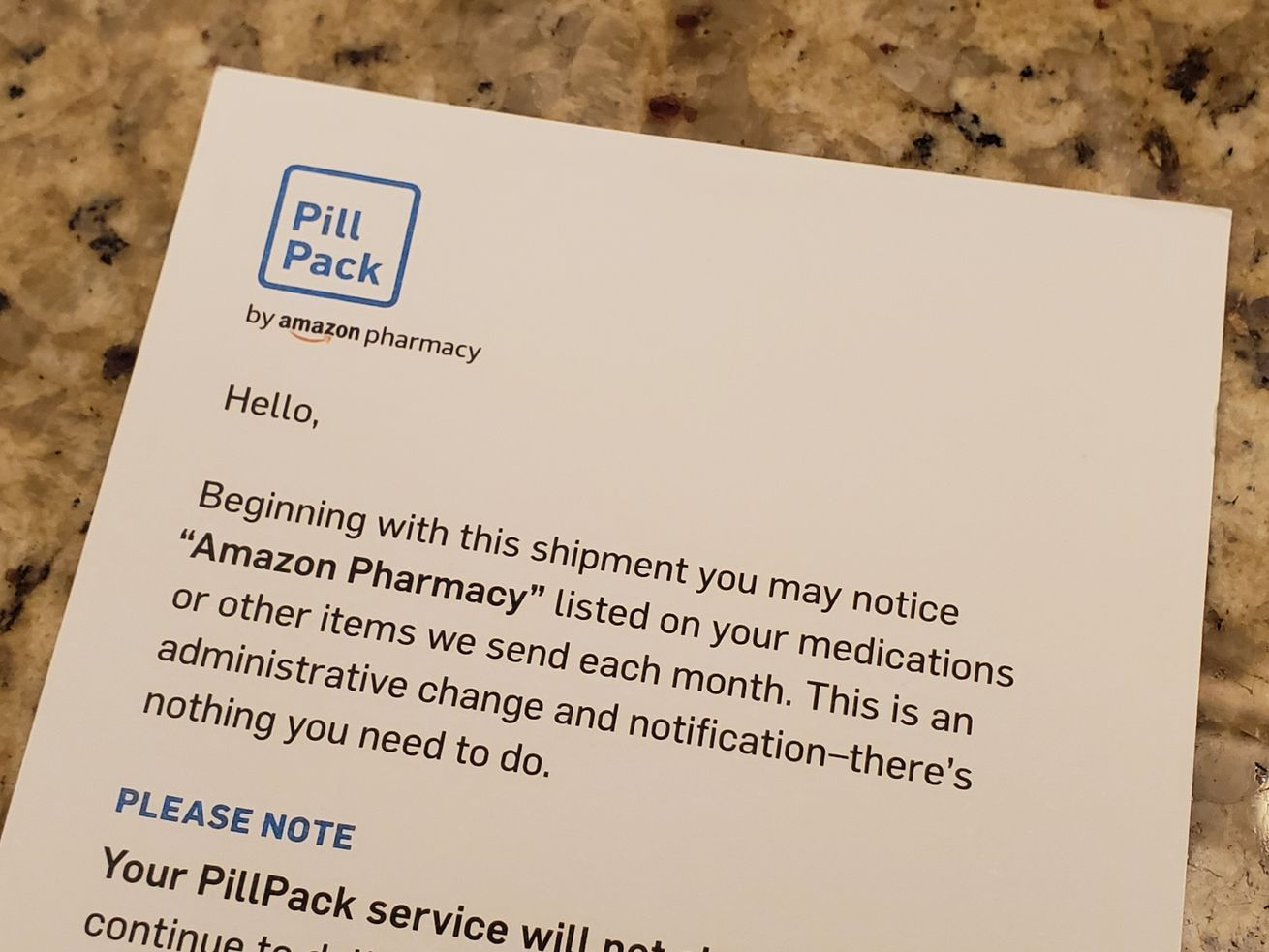 "A printed insert from PillPack announcing that ""Amazon Pharmacy"" will now be listed on medications."