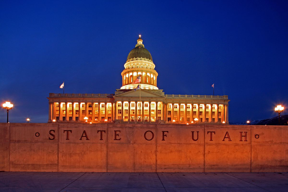 An evening view of the Utah State Capitol Building.