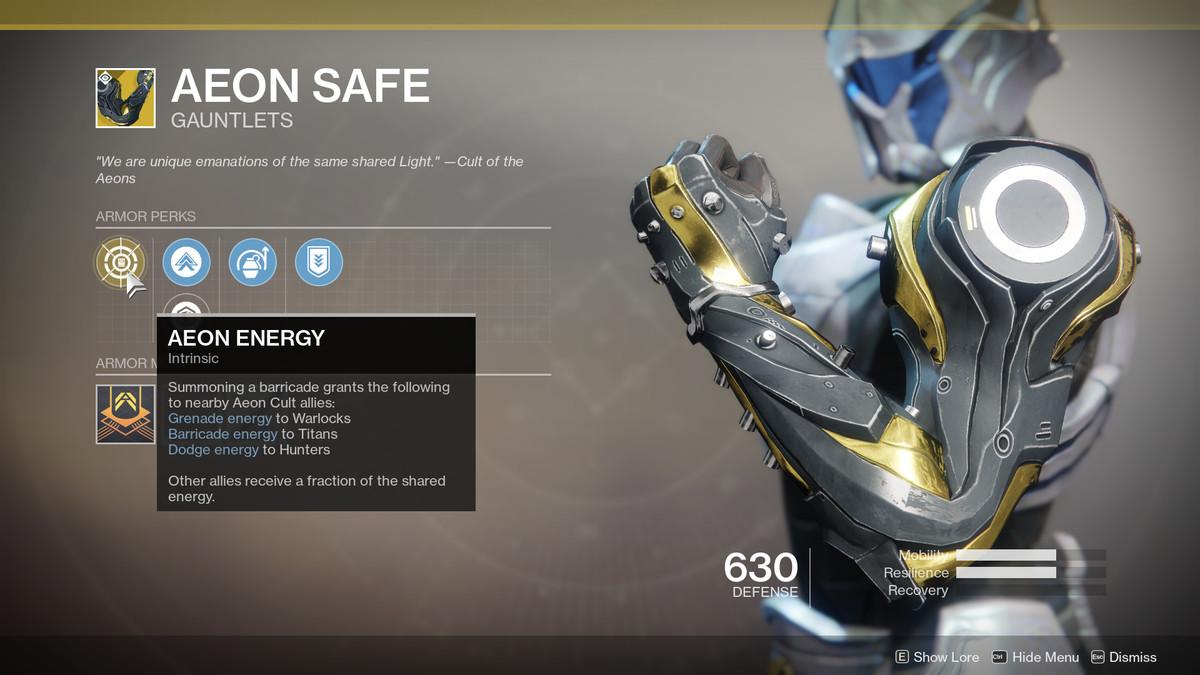 Aeon Safe Exotic Destiny 2