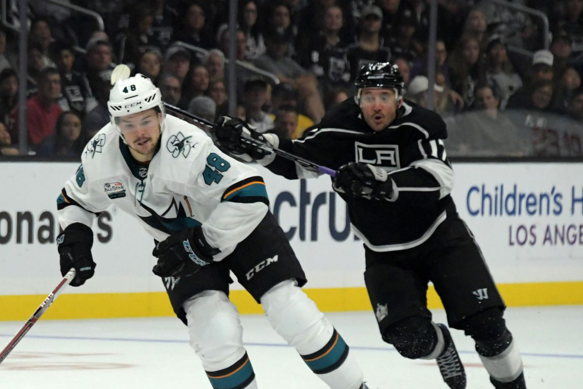 Oct 5, 2018; Los Angeles, CA, USA;San Jose Sharks center Tomas Hertl (48) and Los Angeles Kings left wing Ilya Kovalchuk (17) battle for the puck k in the third period at Staples Center. The Sharks defeated the Kings 3-2 in overtime.