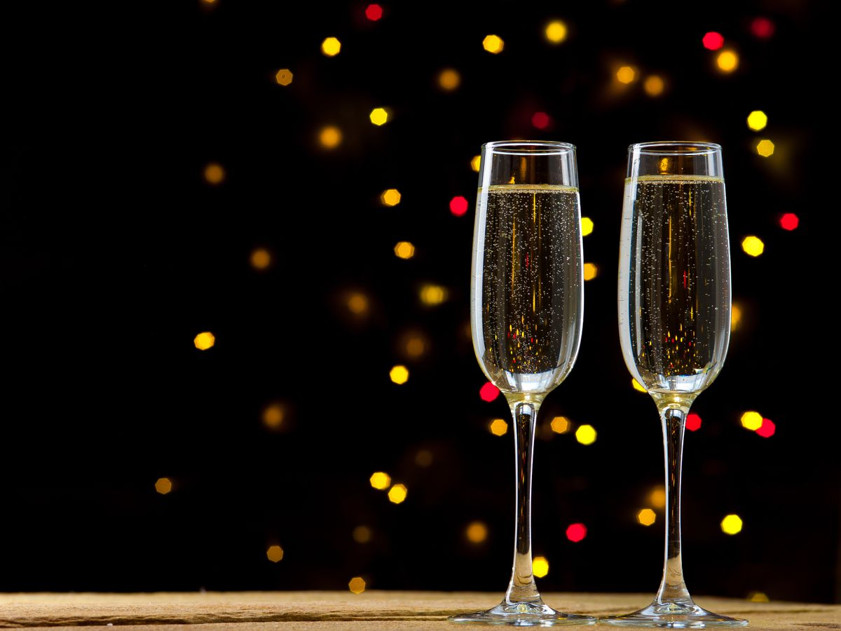 A stock image of Champagne flutes