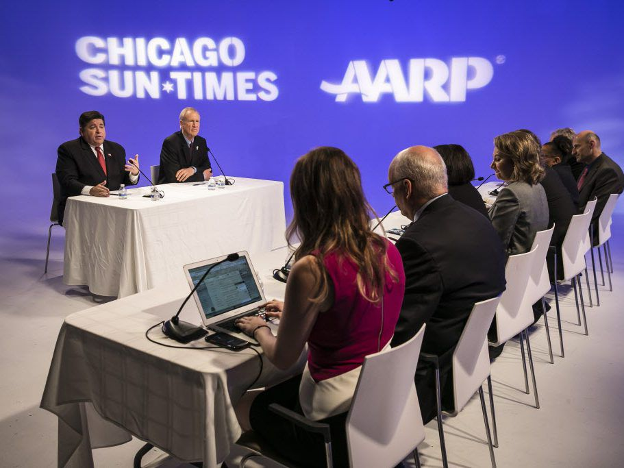 The meeting with the Sun-Times Editorial Board took place in the news production studio in the West Loop. | Rich Hein/Sun-Times