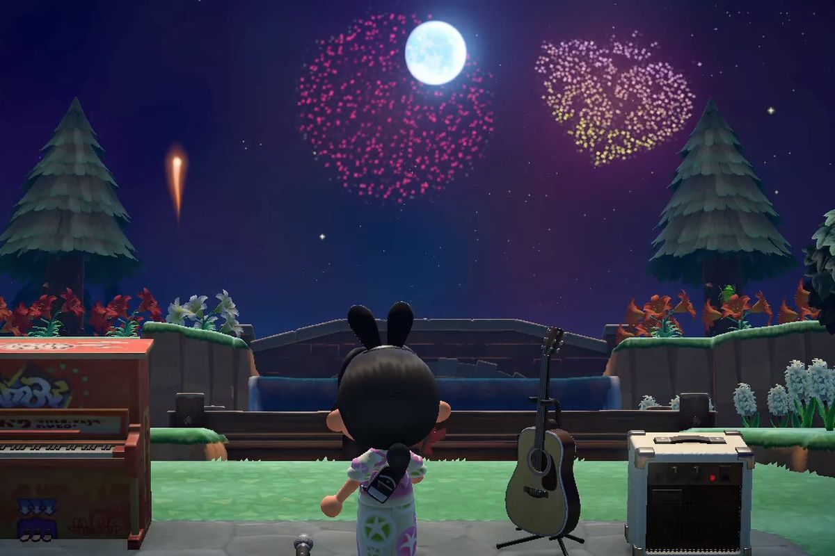 An Animal Crossing character looks up at fireworks that are specific custom shapes