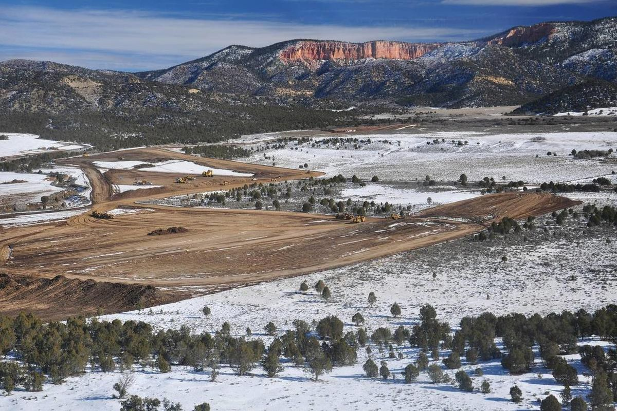 This image provided by the Southern Utah Wilderness Alliance shows a strip mine near Alton, near Utah's Bryce Canyon National Park.