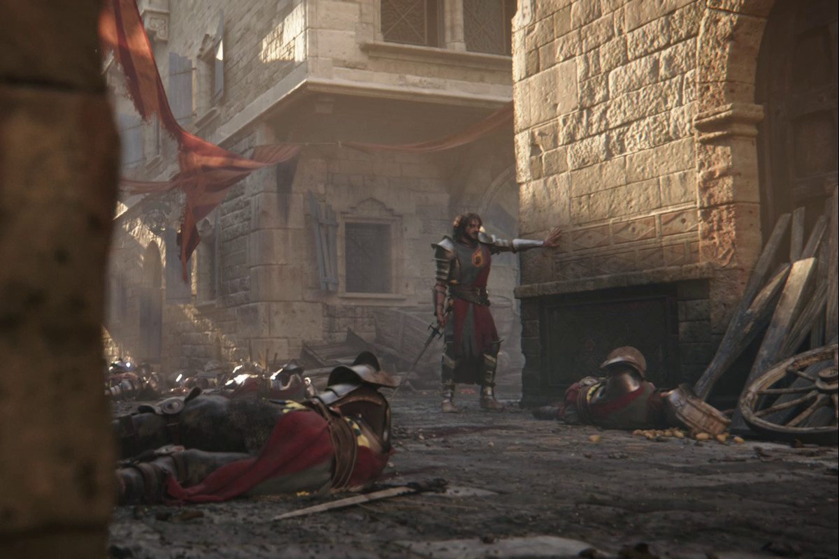 A weary knight props himself against a stone wall with several bodies of fallen comrades around him