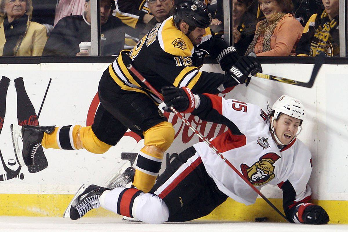 This is one of several instances where Zack Smith drew a penalty. (Photo by Elsa/Getty Images)