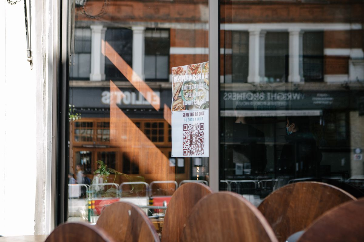 A shot of the window of Arabica Bar and Kitchen in Borough Market